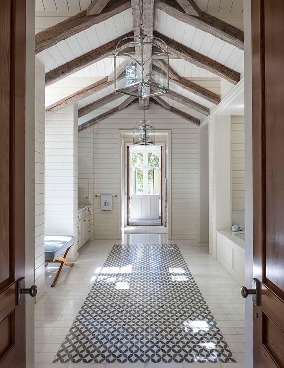 Shiplap vaulted bathroom ceiling with rustic wood beams transitional bathroom - Bathroom ceilings ideas ...