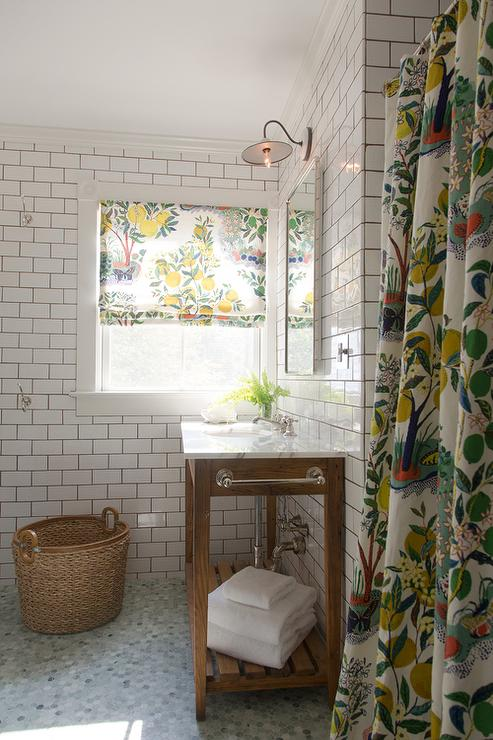 Whimsical Bathroom With Yellow And Green Floral Shower Curtain