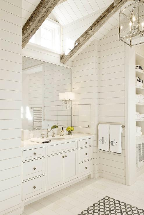 Shiplap vaulted bathroom ceiling with rustic wood beams for Half vaulted ceiling with beams