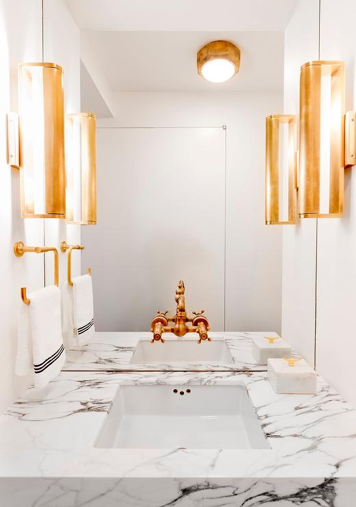 White Powder Room With Gold Fixtures Contemporary Bathroom - White bathroom faucet fixtures