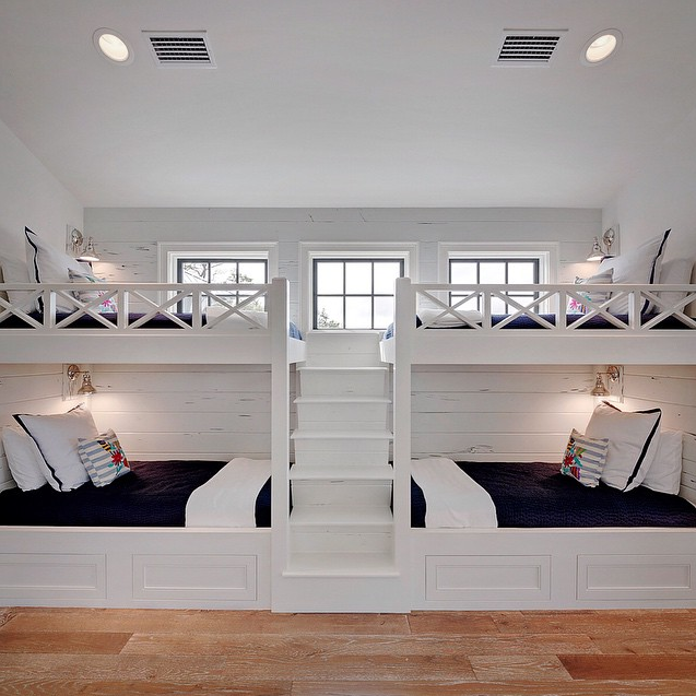 White built in bunk beds with navy bedding cottage boy for Room design 2 twin beds