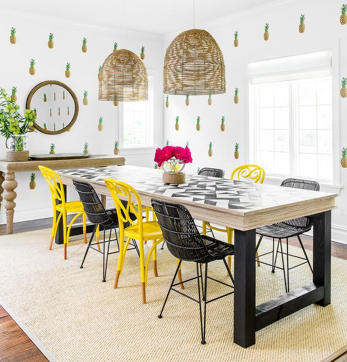 Yellow and Black Dining Chairs Eclectic Dining Room