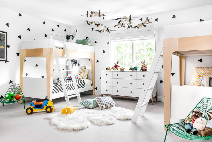 Two Tone Bunk Beds with Ladders  Eclectic  Boys Room