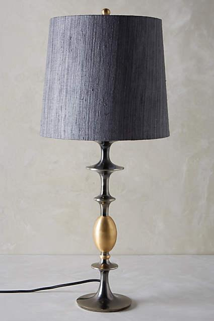 Ridged Glass Dark Gray Gourd Table Lamp