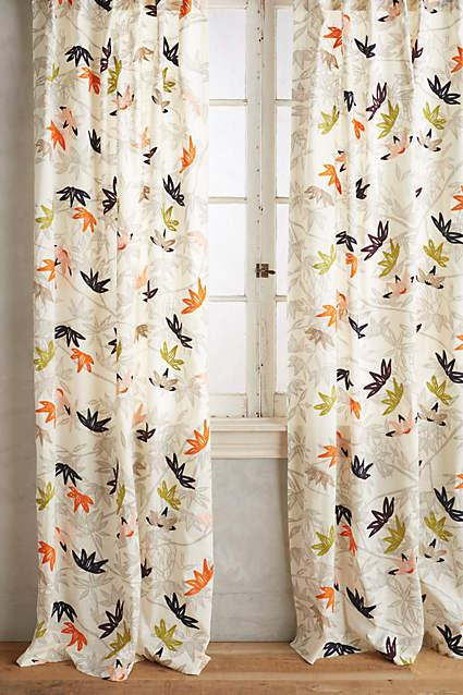 Multicolored Embroidered Lotus Curtain