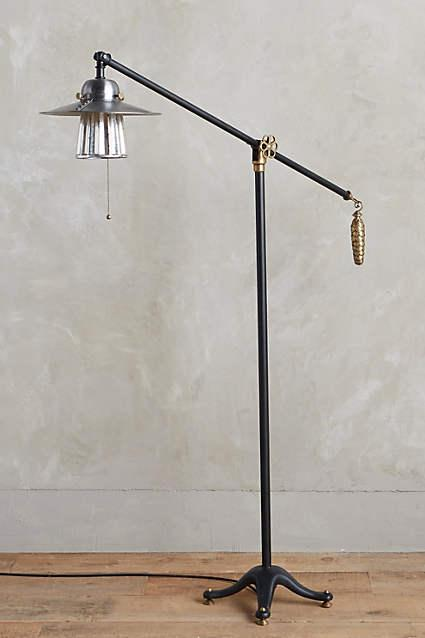 Hudson Industrial Floor Lamp in Brass