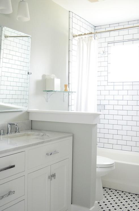 White shower subway tiles with black grout transitional - White subway tile with black grout bathroom ...