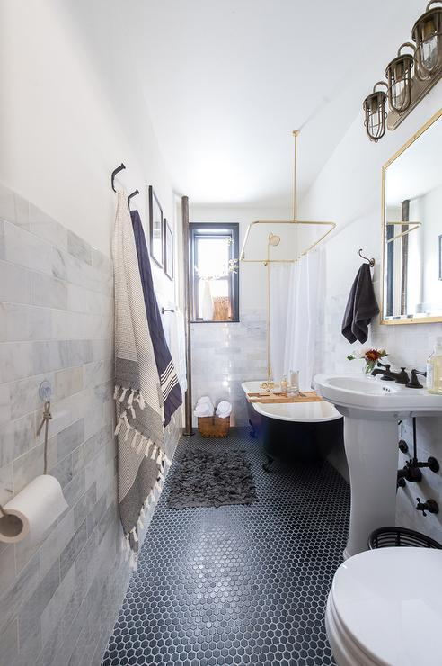 Black and Gold Bathroom with Hex Tiles - Transitional ...