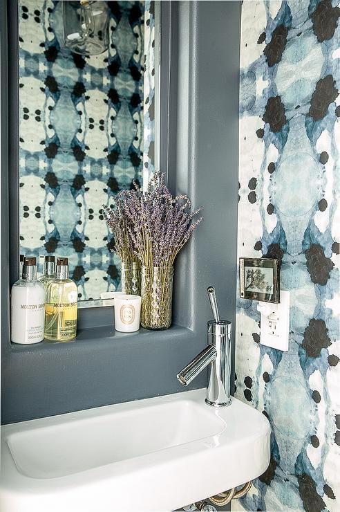 Blue bathroom with eskayel wallpaper contemporary bathroom for Blue bathroom wallpaper