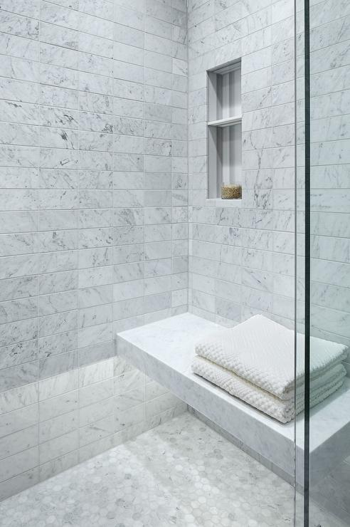 Carrera Marble Floating Shower Bench With Custom Lighting