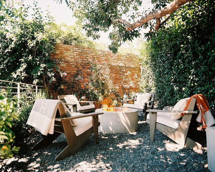 Garden With Fire Pit Surrounded By Chairs Transitional Garden - Teak fire pit table