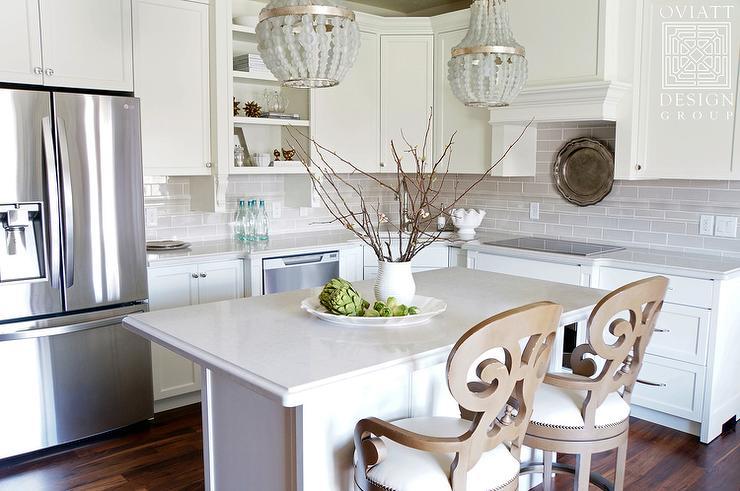 Small Kitchen Island with Gray Beaded Chandeliers - Transitional ...