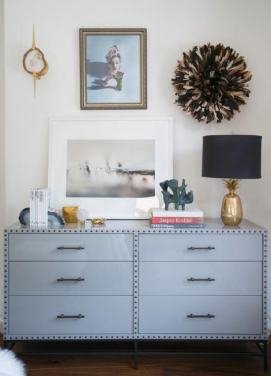 Gray Dresser With Juju Hat Contemporary Bedroom