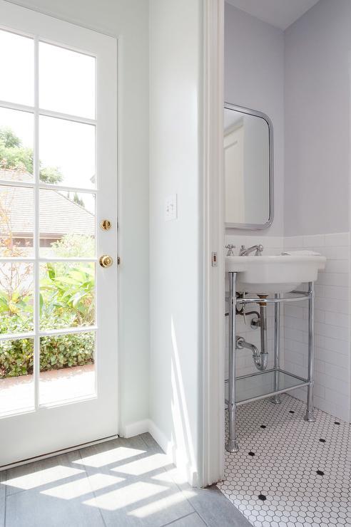 Guest bathroom with door to backyard transitional bathroom for Backyard guest house with bathroom