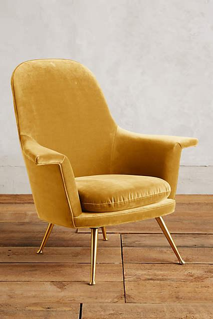 Exceptional Gold Velvet Kimball Chair