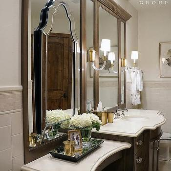 espresso bathroom vanity with vivian single sconces