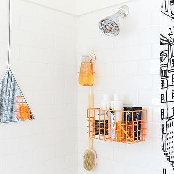 Kids Bathroom With Black And White Graphic Shower Curtain