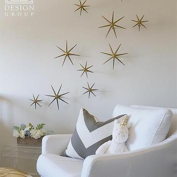 White Nursery Glider With Gold Wall Stars