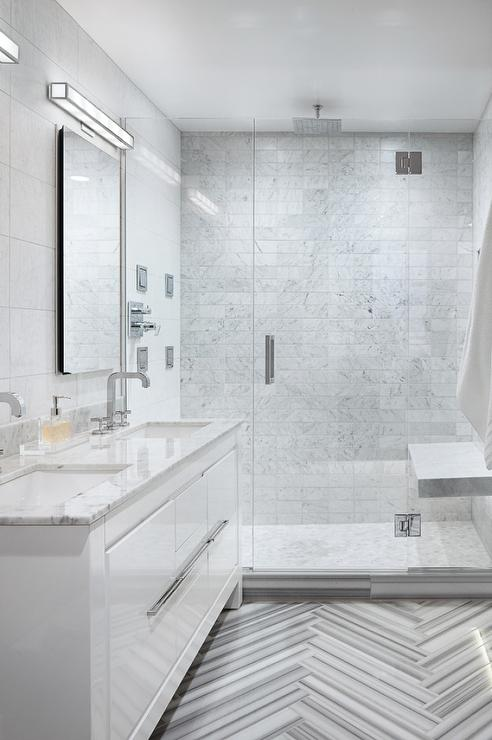 white and gray striped marble bathroom tiles - contemporary - bathroom