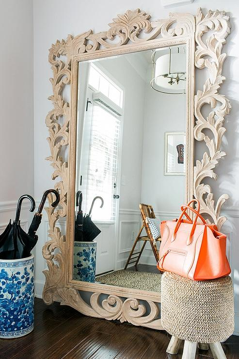 Modern Foyer Mirror : Restoration hardware rococo leaner mirror contemporary