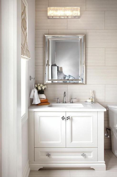 White and taupe bathroom with ann sacks tiles for Taupe bathroom ideas