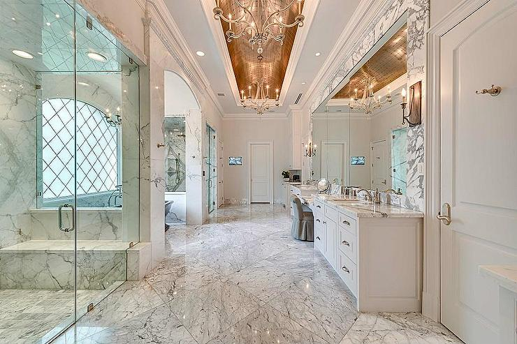 Grand Master Bathroom With Gold Barrel Ceiling