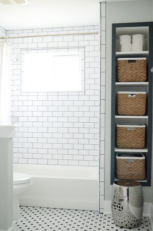 Recessed Vertical Bathroom Shelves with Seagrass Bins - Transitional ...