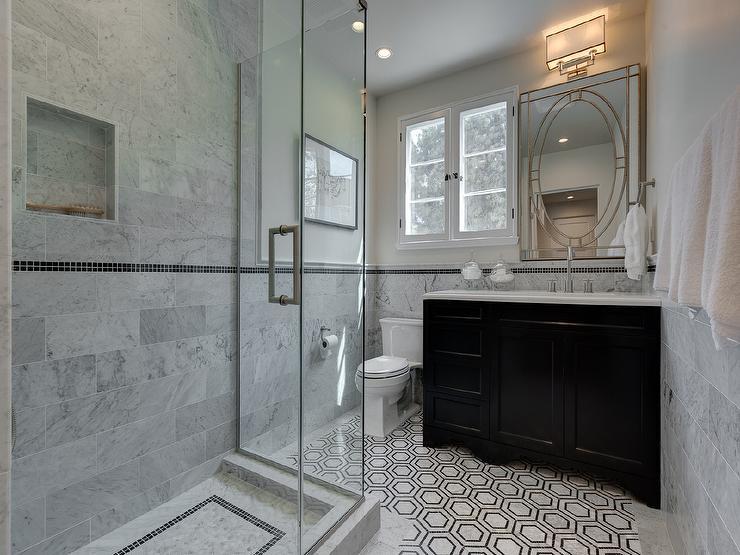 Black Vanity With Black And White Hex Tile Floor