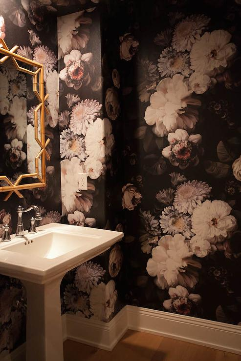 Black And Gold Floral Powder Room Wallpaper Contemporary Bathroom
