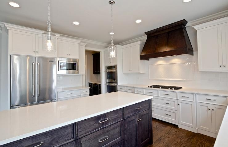 Dark Brown And White Kitchen white cabinets with dark brown kitchen hood - transitional - kitchen
