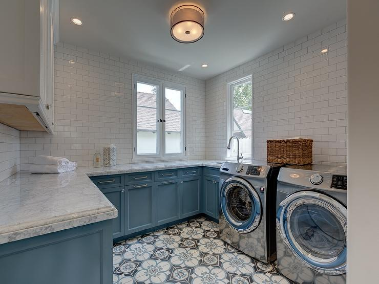 White And Blue Laundry Room Cabinets Transitional
