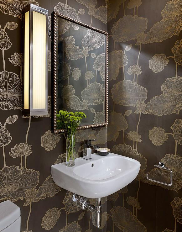 Brown And Gold Powder Room With Gingko Leaf Wallpaper