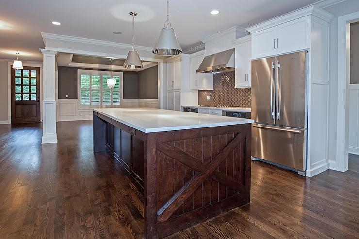 White Cabinets with Dark Brown Island  Transitional  Kitchen