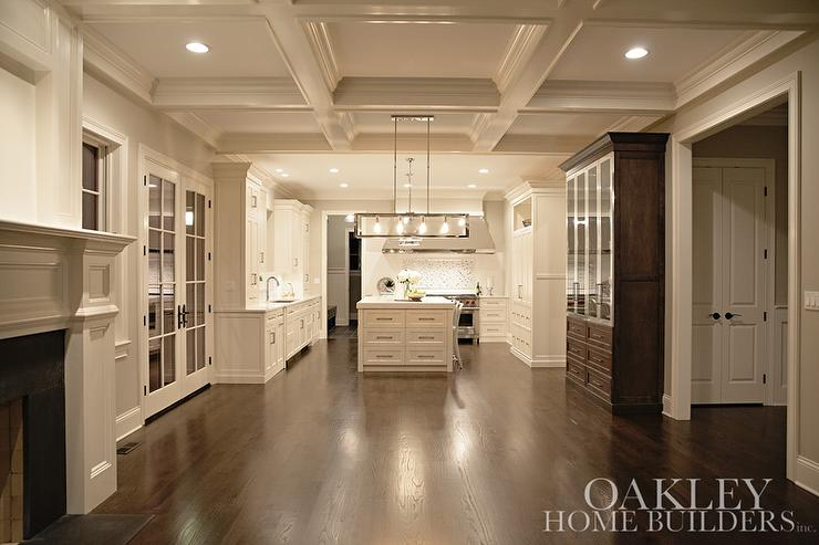 Coffered Dining Room Ceiling with Dark Stained China Cabinet ...
