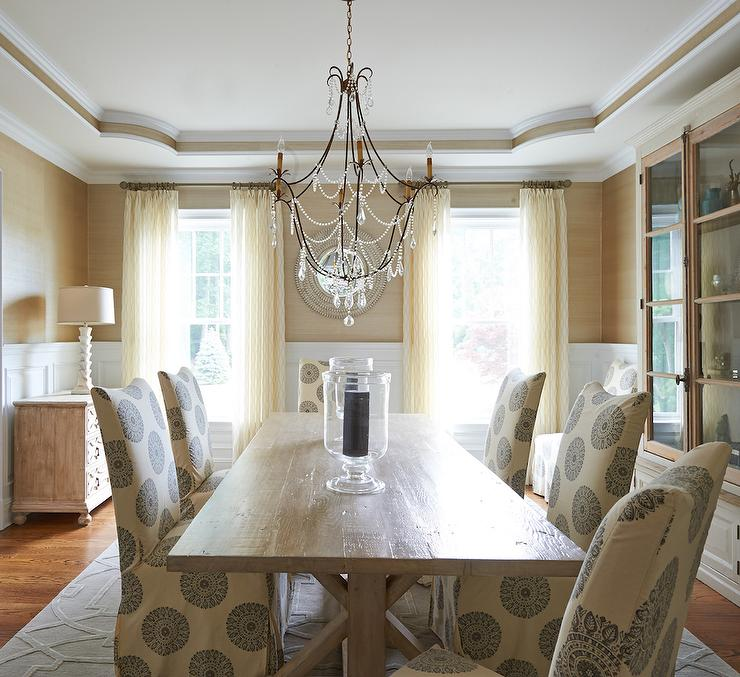View Full Size Cream And Gold Cottage Dining Room