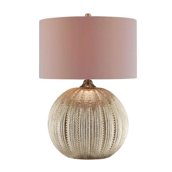Simeon pumpkin shaped glass base table lamp in gold aloadofball Images