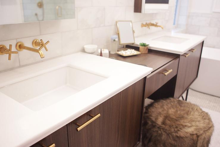 Walnut Vanity With Long Brass Pulls Contemporary Bathroom
