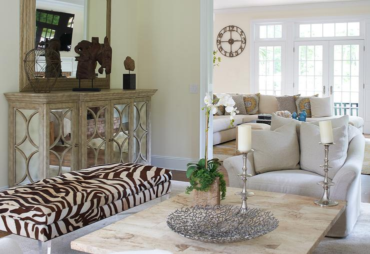 Cottage Living Room With Long Zebra Bench