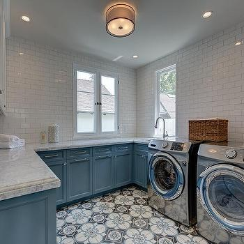 Exceptional White And Blue Laundry Room Cabinets