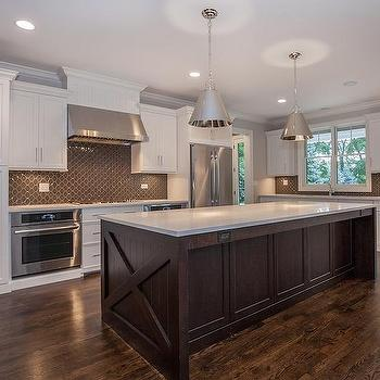 Dark Brown And White Kitchen black and white kitchen with marble arabesque tile cooktop