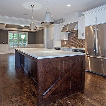 White Cabinets With Dark Brown Kitchen Hood Transitional