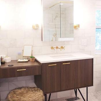 Kohler Jute Walnut Flax Vanity With Brass Hardware Contemporary Bathroom