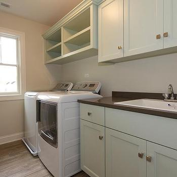 Gray Green Laundry Room With Small Stainless Steel Sink