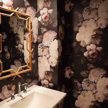Black And Gold Powder Room With Ellie Cashman Dark Floral Wallpaper