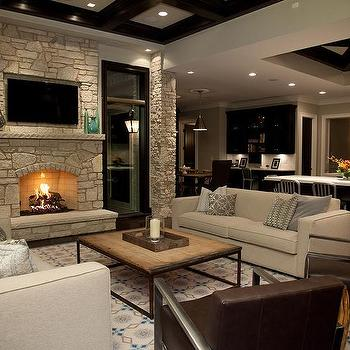 Stone Fireplace Wall With Flatscreen TV Niche View Full Size Transitional Living Room