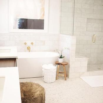 Spa Bathroom With Soaking Tub And Gold Bath Spout