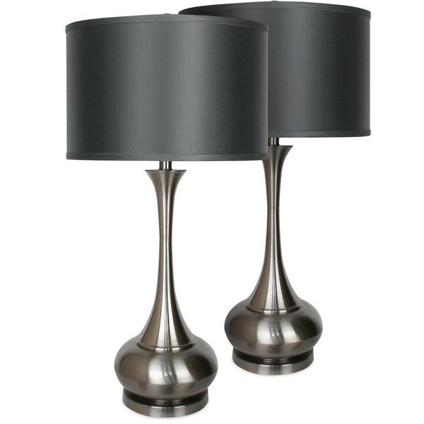 metal base black shade table lamp pair of. Black Bedroom Furniture Sets. Home Design Ideas