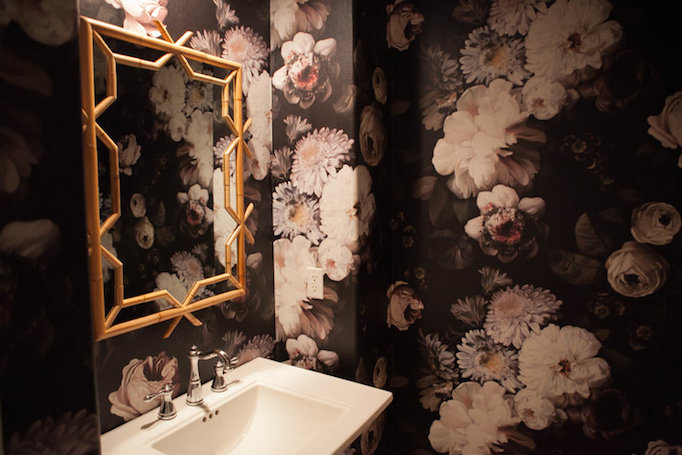 Black and gold powder room with ellie cashman dark floral for Dark bathroom wallpaper