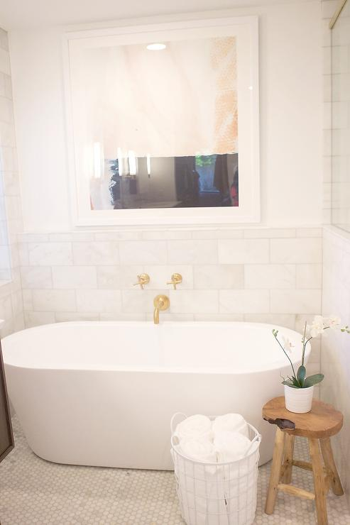 Spa Like Bathroom With Oval Tub And Wall Mount Gold Tub Filler Contemporary Bathroom
