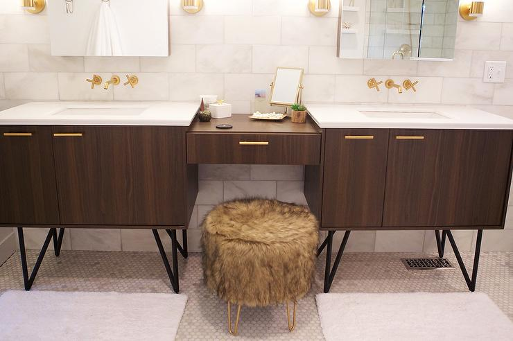 Kohler Jute Walnut Flax Vanity With Brass Hardware